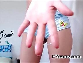 Teen in short jeans masturbating webcam