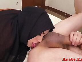 Ethnic muslim babe sucks cock and ass