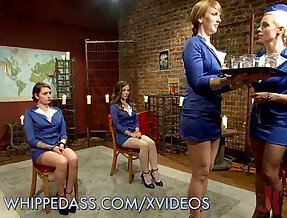 Flight Attendants Get Their huge Asses with Whipped