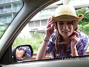 Teen sucking and fucking in a car in public
