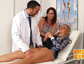 Lesbian babe gets examined and cured by handsome doctor PARTYCFNM