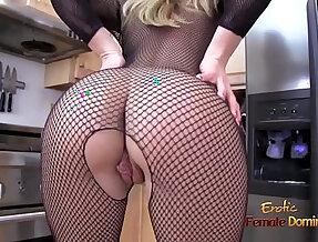 Blonde amateur MILF ripping off her full body fishnet stockings
