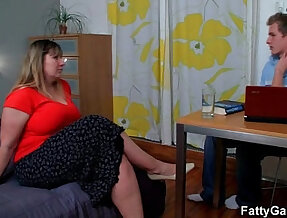 Hot fatty gives deep in her throat