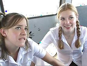 In the schoolbus cute schoolgirl blow and fuck . hd