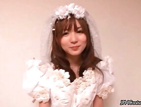 Sexy Japanese cosplay bride loves