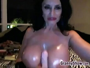 Nasty Granny Masturbating At Home With huge Toys