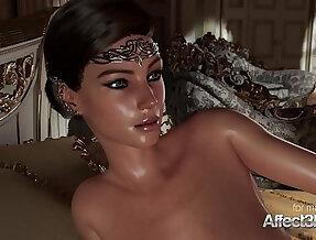 Horny 3D Princess giving a blowjob to his big cock prince