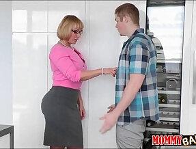Busty stepmom Melanie Monroe sharing cock with teenie
