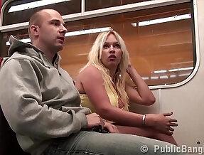 Big tits star Stella Fox fucked on a public train by guys monster black dick