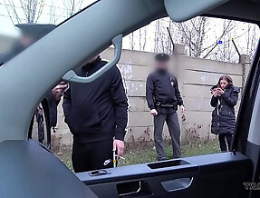 Hardcore sex action in driving van interrupted by real Police officers