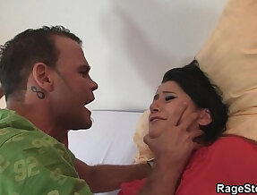 Cheating slut in nylons gets choked and screwed
