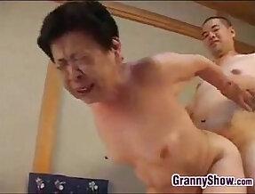 Japanese Grandma Giving Blowjob