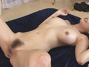 Creampied in both her holes after akari asagiris threesome