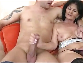 Two young guys on one horny grandmother