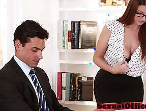 Busty secretary her pussy fucked on table