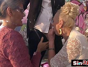 Crazy Italian Talent Show XXX Fucktory Outrageous Double Granny Blowjob