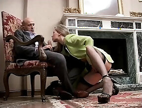 Classy and sexy horny girl in high heels and stockings sucking and riding cock