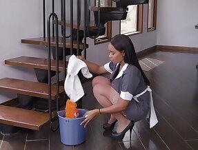 Foxy maid gets banged